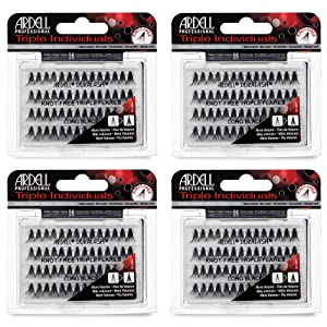 Ardell False Eyelashes Triple Individuals Knot-Free Long Black 4 Pack