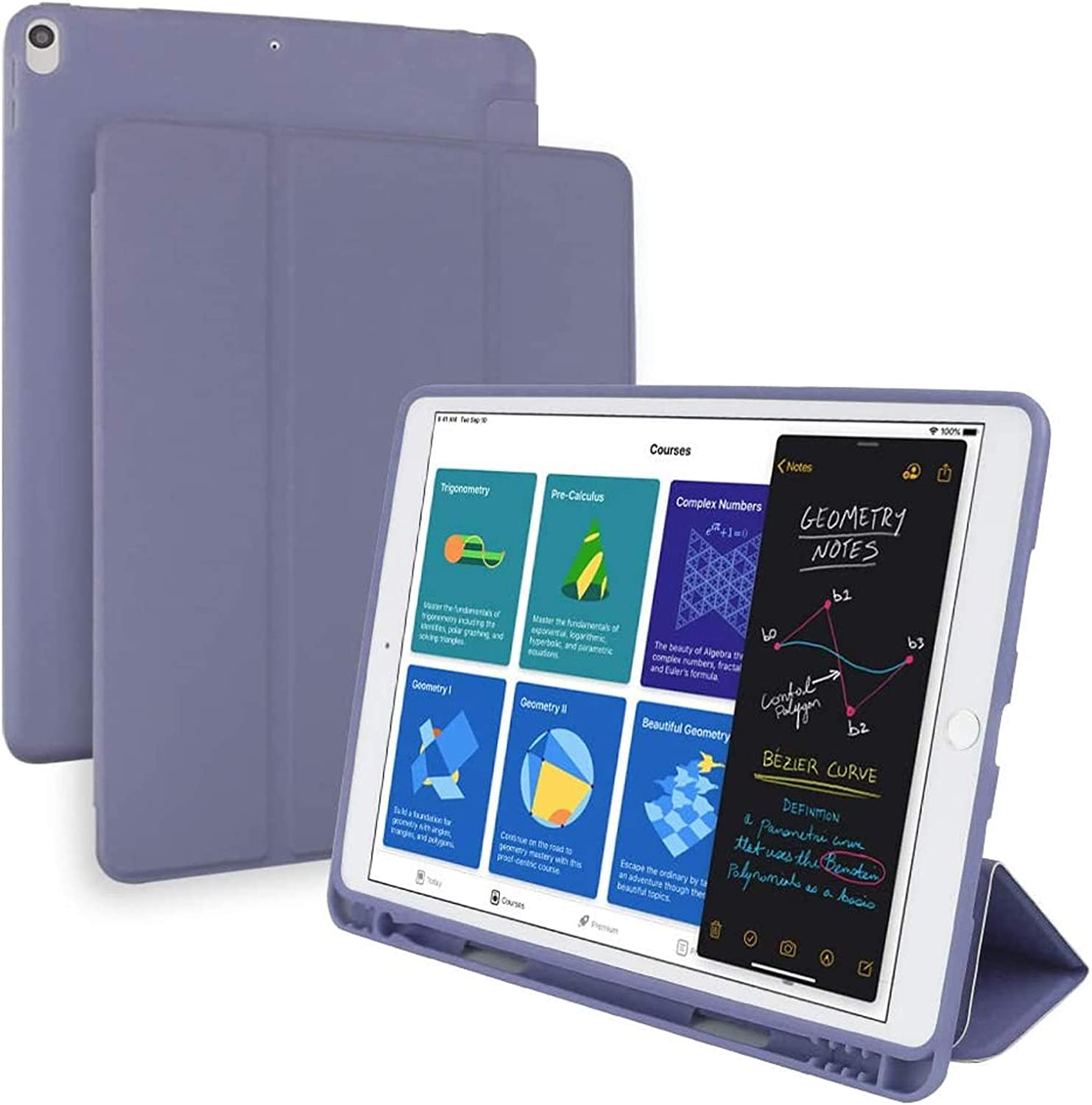 SlimShell PU Case Cover for iPad Air 3 (10.5-inch 2019) and iPad Pro 10.5 with Built-in Pencil Holder-Smart Stand Soft TPU Silicone Back Cover, Auto Wake/Sleep for iPad 10.5 inch (Purple)