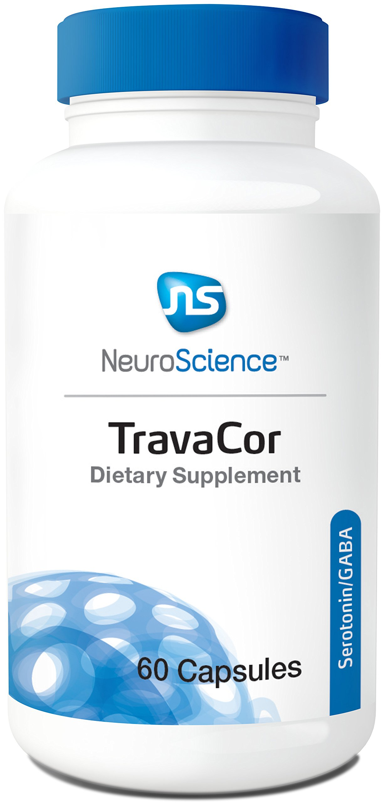 NeuroScience TravaCor - Mood and Calm Support Complex with 5-HTP and L-Theanine, Serotonin and GABA Neurotransmitter Supplement (60 Capsules)