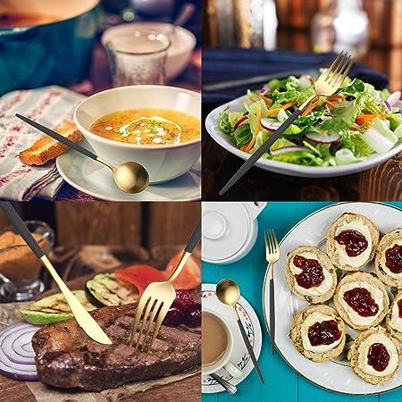 Amazon.com: 4 Pieces Stainless Steel Tableware Set Flatware Cutlery Set Including Steak Fork Spoons Knife Dinnerware Anti-Rust Utensil Set(Black + Golden): ...
