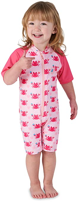 9fb881882f9e Juicy Bumbles Baby Girl Swimsuit | Toddler One Piece Warm Sun Protection UV  Swimsuit - Pink