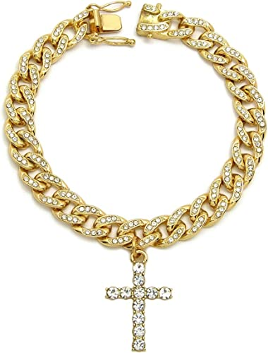 """Mens 14K Gold Finish With ROSE SPIKES TWO TONE BIG STONES 22"""" 8.5 mm Chain"""