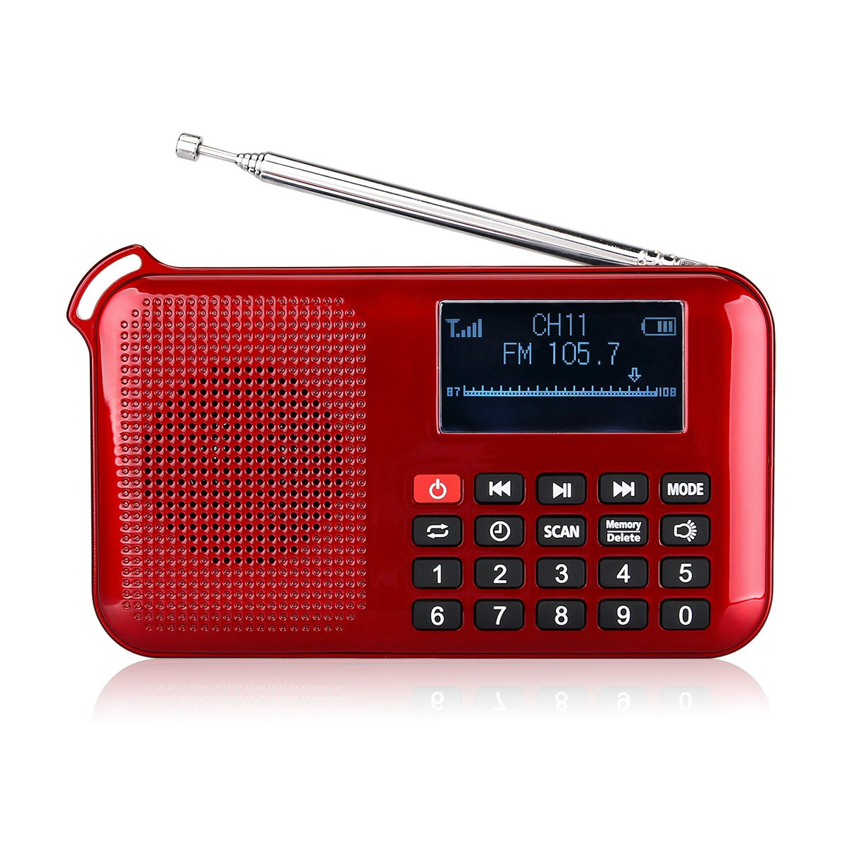 Retekess Portable L-388 Solar Radio Flashlight with FM Mp3 player Speaker Sleep Timer Phone Charger Sleep Timer Rechargeable Battery(Red)