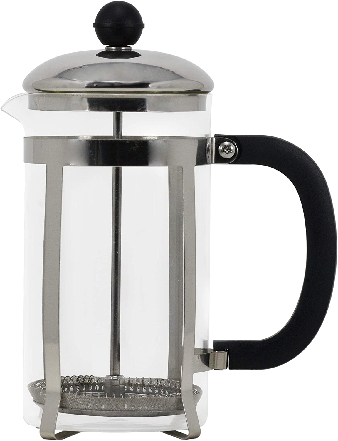 Copper French Press Coffee Maker with Stainless Steel Plunger, Lid, and Frame 100% BPA Free Heat Resistant Borosilicate Glass Kitchen Thermal Brewer Steep Coffee, Tea (Silver, 600 ml/21 Oz.)