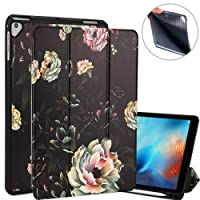 Lontect iPad 9.7 2018 Case with Apple Pencil Holder Slim Lightweight Trifold Stand Folio Smart Case Auto Wake/Sleep Soft TPU Back Cover for Apple iPad 2018 9.7 Inch 6th Generation, White Flower/Black