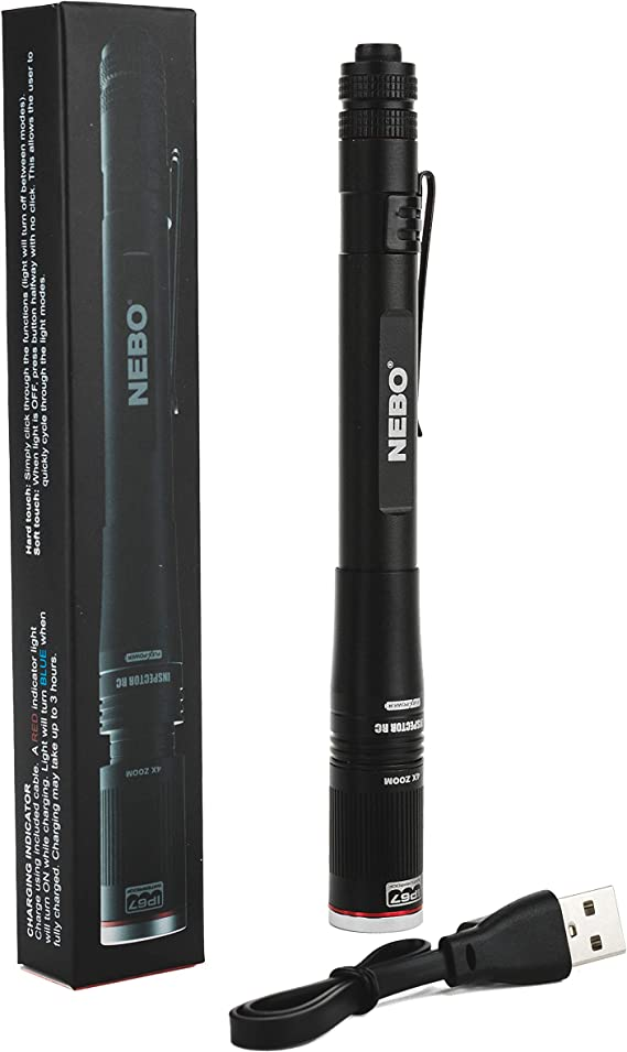 Rechargeable Pen Light Flashlight 360-Lumens: NEBO Inspector Rechargeable Flashlights features FLEX Power