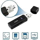 Micro USB OTG auf USB 3.0 Adapter, Alcey SD / Micro SD Kartenleser mit Standard USB & Micro USB Stecker für Smartphones / Tablets mit OTG Funktion