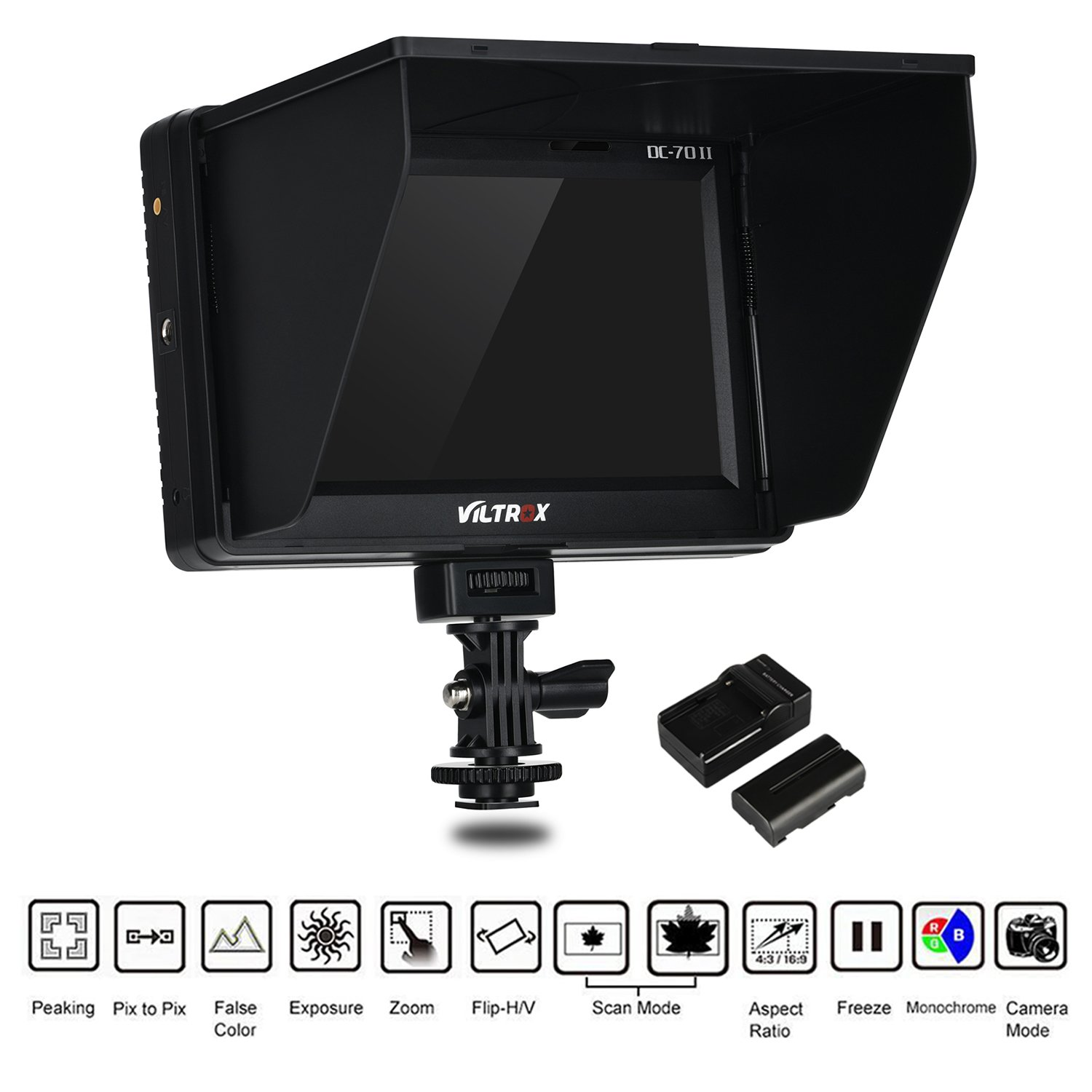 VILTROX DC-70 II 4K HDMI Field Monitor 7'' TFT LCD HD video Monitor HDMI AV Input 1024 600 for DSLR Camera Canon Nikon + Rechargeable NP-F550 battery + charger