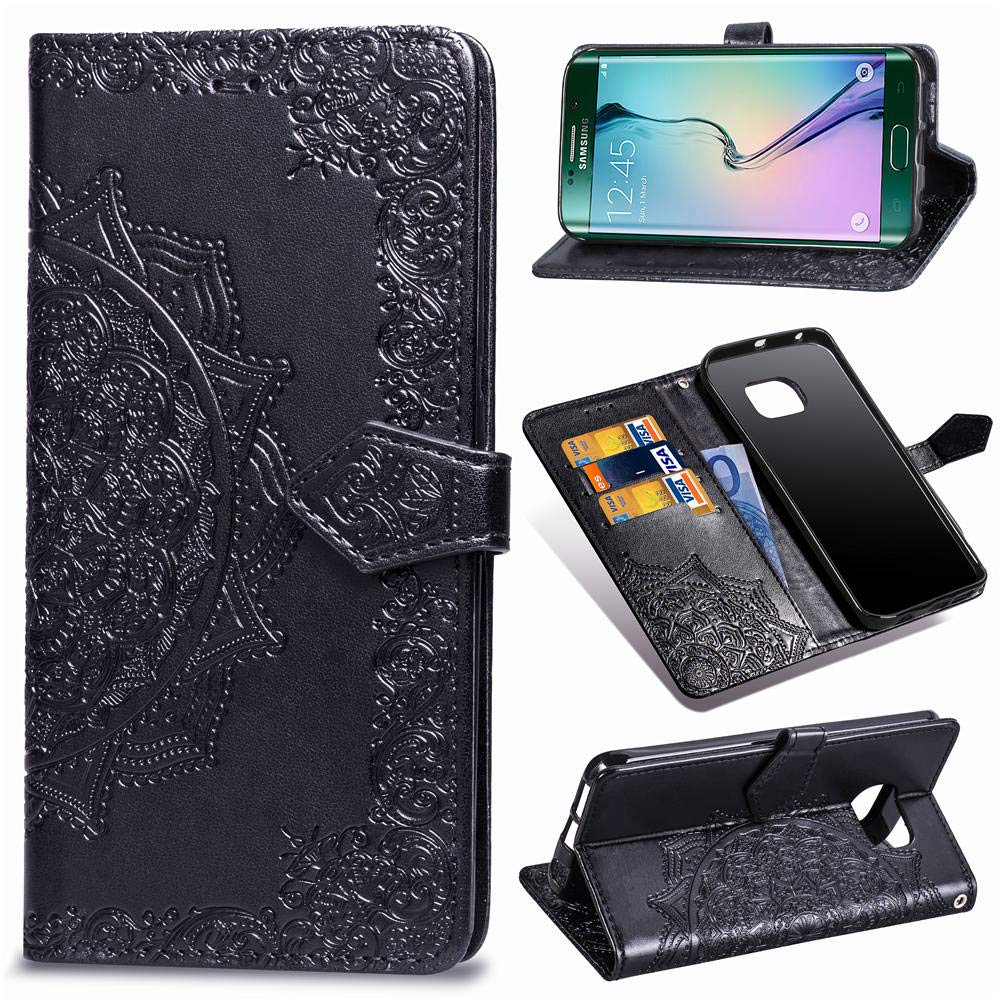 Galaxy S6 Edge Case,S6 Edge Wallet Case,Luxury Henna Mandala Floral Flower PU Leather Flip Folio Phone Protective Case Cover for Samsung Galaxy S6 Edge with Credit Card Slot Holder Kickstand,Purple