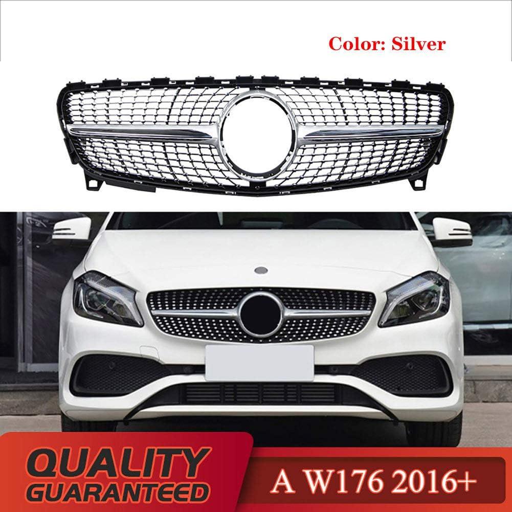 LSYBB Calandre Diamant pour Mercedes Classe A W176 A180 A200 A260 A45 2016-2018 W176 Grille sans Embl/èMe,Black