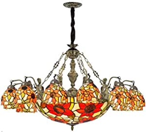 Pastoral Sun Flower Hanging Pendant Lamp Multi-Arm Tiffany Style Retro Stained Glass Chandelier for Living Room Bedroom Stairs Decoration Ceiling Lighting Fixture, 110-240V,12 Head