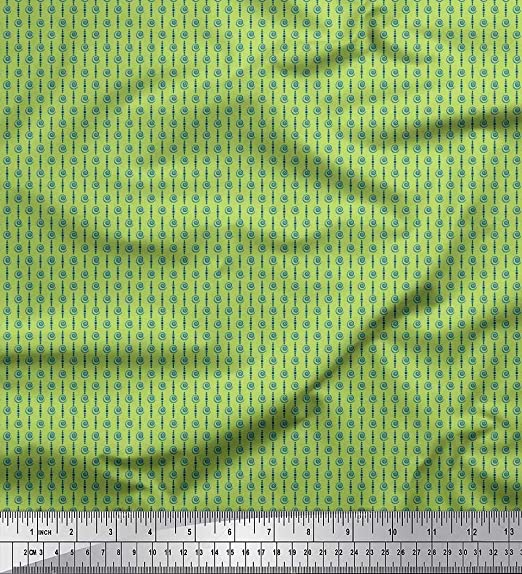 Soimoi Verde Georgette poli Tela Dot y espiral tela de camisa tela estampada de 1 metro 42 Pulgadas de ancho: Amazon.es: Hogar