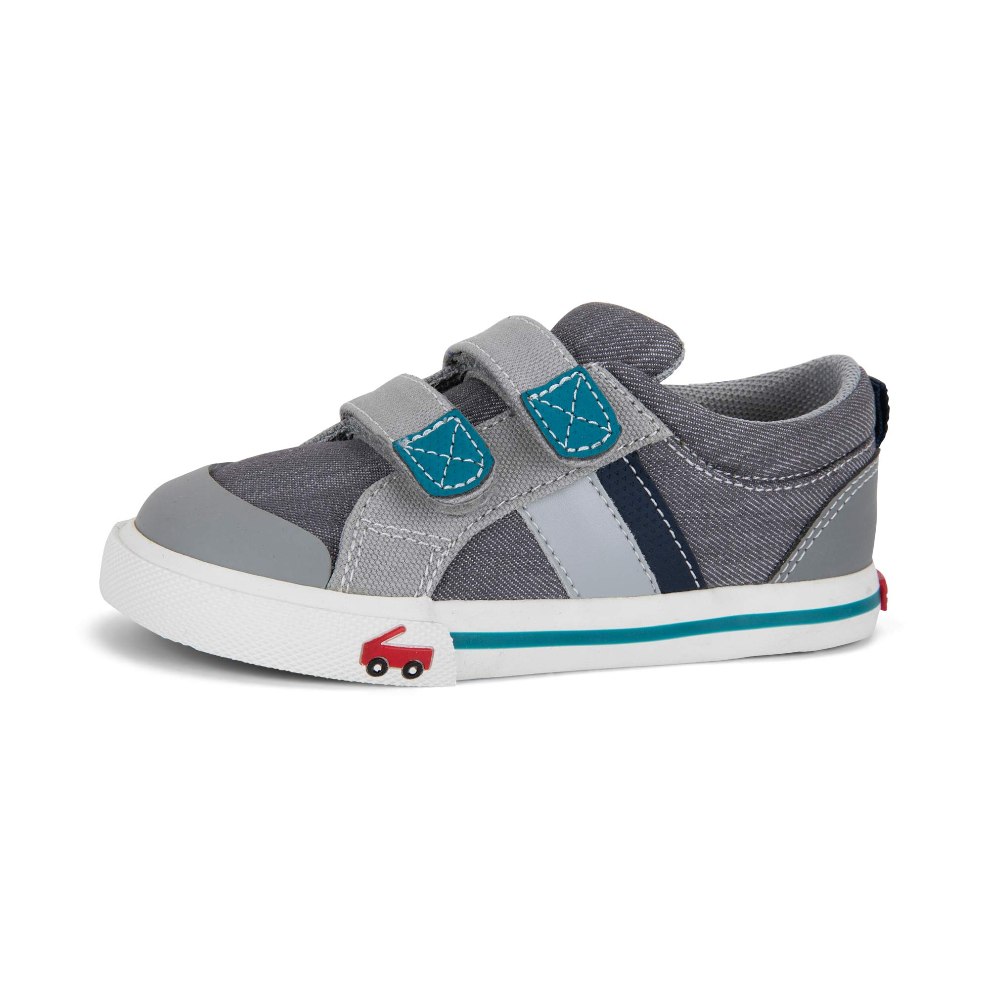 See Kai Run Boy's Russell Sneaker, Gray/Teal, 6 M US Toddler
