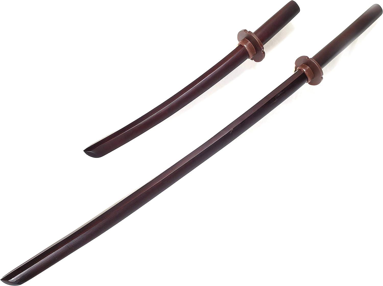 e-bogu Wooden Katana Samurai Training Sword Set Come with Tsuba Handguard (Dark Red)