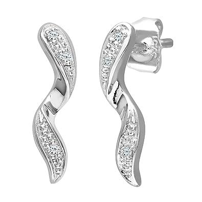 Naava Women's 0.03 ct Diamond Drop Earrings in 9 ct White Gold b4PViOsr