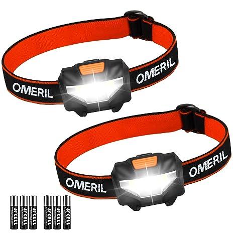 Linterna Frontal (2 Pack) OMERIL Linterna Cabeza, Super Ligera (43g), 3 Modos de Luz, IP44 Impermeable, 150 Lúmenes Frontal LED para Correr, Caminar, ...