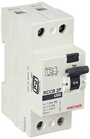 Anchor by Panasonic 98201 Uno Series 25 Ampere Dual Pole 30Ma RCCB, (White, Pack of 2)
