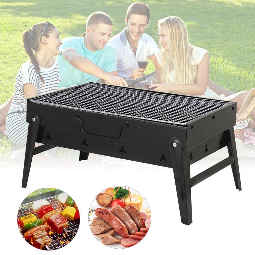 Uten BBQ Barbecue à Charbon de Table en Acier inoxydable Pliable Four Grille de cuisson Démontable Portable pour Barbecue de jardin extérieur camping et pique nique