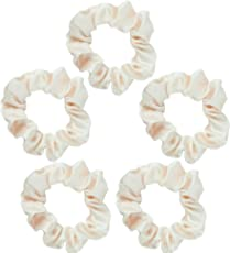 Kitsch Satin Scrunchies for Hair (5 pack)- Satin Hair Ties for Women, Scrunchie for Frizz & Breakage Prevention and Style Preservation (Ivory)