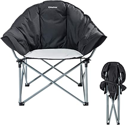 KingCamp Large Folding Camping Chair with Armrests and Transport Bag Grey//Black