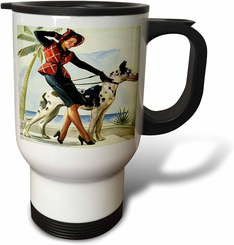 Amazon Com 3drose Print Of Elvgren Pinup With Great Dane Travel Mug 14 Oz White Kitchen Dining