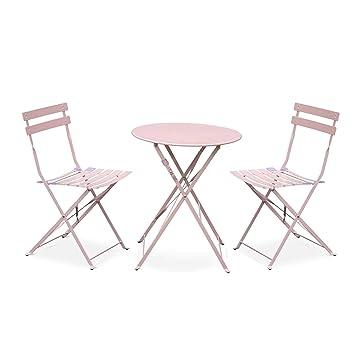 Salon de Jardin bistrot Pliable Emilia Rond Rose Pale, Table ⌀ 60cm avec  Deux chaises Pliantes, Acier thermolaqué