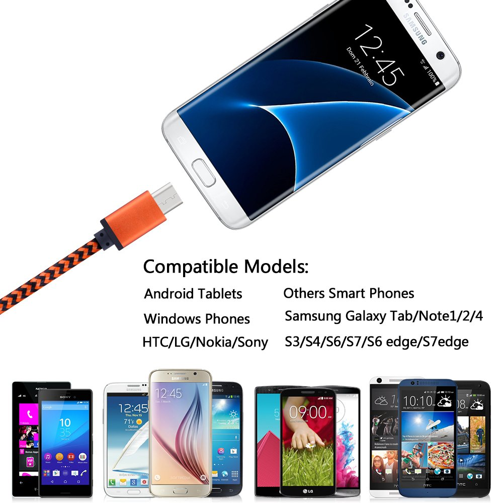 Micro USB Cable, Sicodo High Speed [5-Pack] 6FT Premium Nylon Braided USB 2.0 A Male to Micro B Data Sync and Charger Cables for Samsung Galaxy S7, Note 5, HTC, Motorola, Sony and More Android Phones by Sicodo (Image #5)