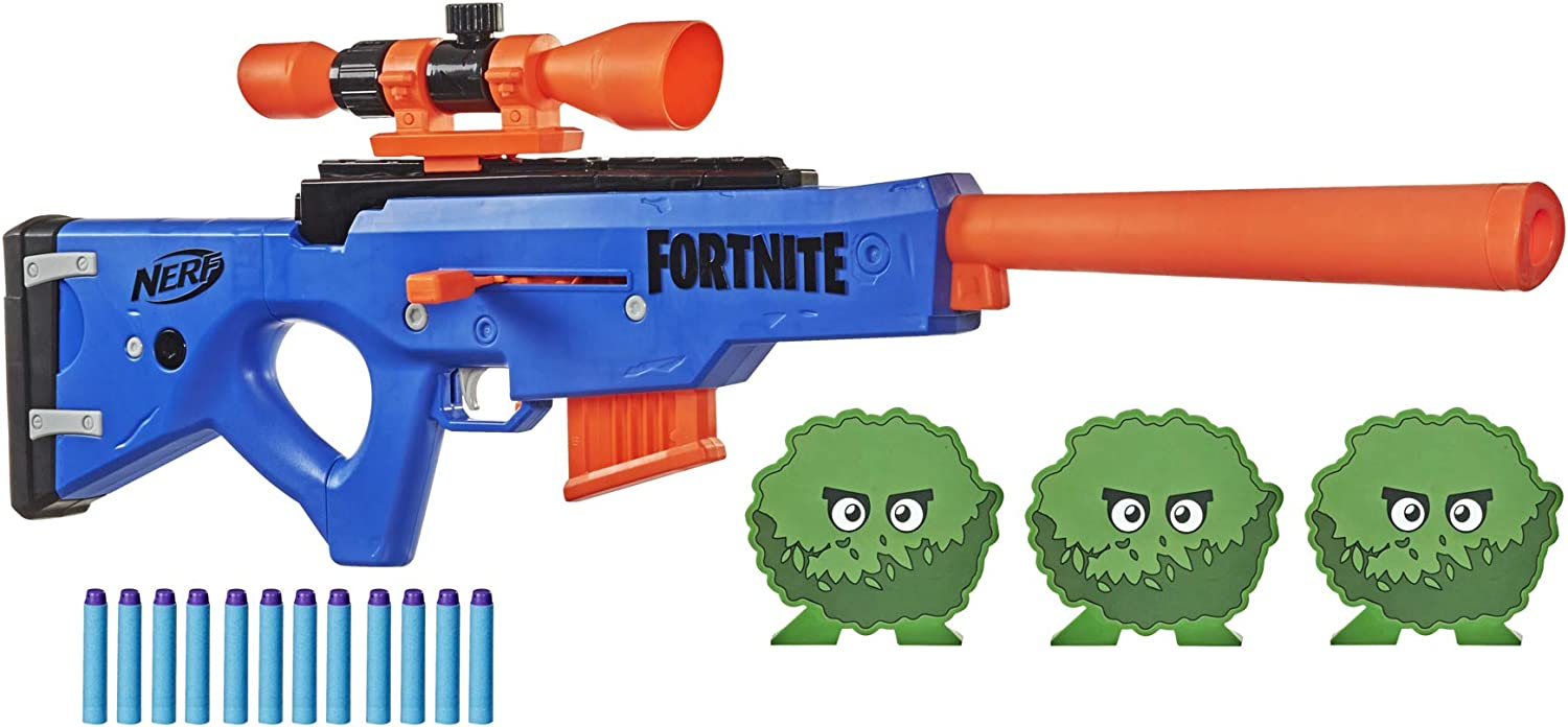 Amazon Com Nerf Fortnite Basr R Bolt Action Blaster Includes 3 Bush Targets Removable Scope Removable 6 Dart Clip 6 Official Elite Darts Amazon Exclusive Toys Games