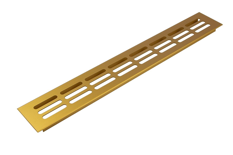 Teglia rettangolare per ventilazione griglia di ventilazione alluminio dorato, Steg Targa in mobili & porta di griglia ovale –  H6001   Lunghezza 400 mm   Larghezza 80 mm   Made in Germany   von GedoTec Mobili