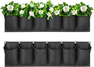 Hanging Garden Planters with 6 Pockets, 2020 Upgarde New Layout Outdoor Hanging Flowerpot Bag