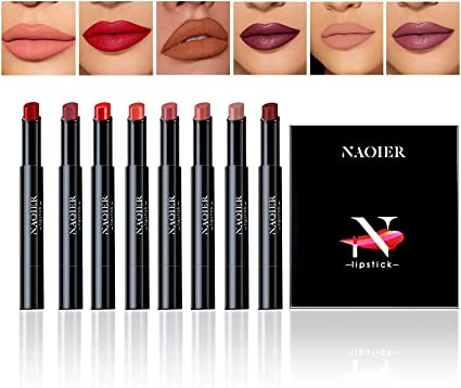 Lápiz Labial Mate, NAQIER 8 Pzas, Hidratante Suave Pintalabios Nude, Lápiz labial líquido a prueba de agua Maquillaje Brillo de labios Velvet: Amazon.es: Belleza
