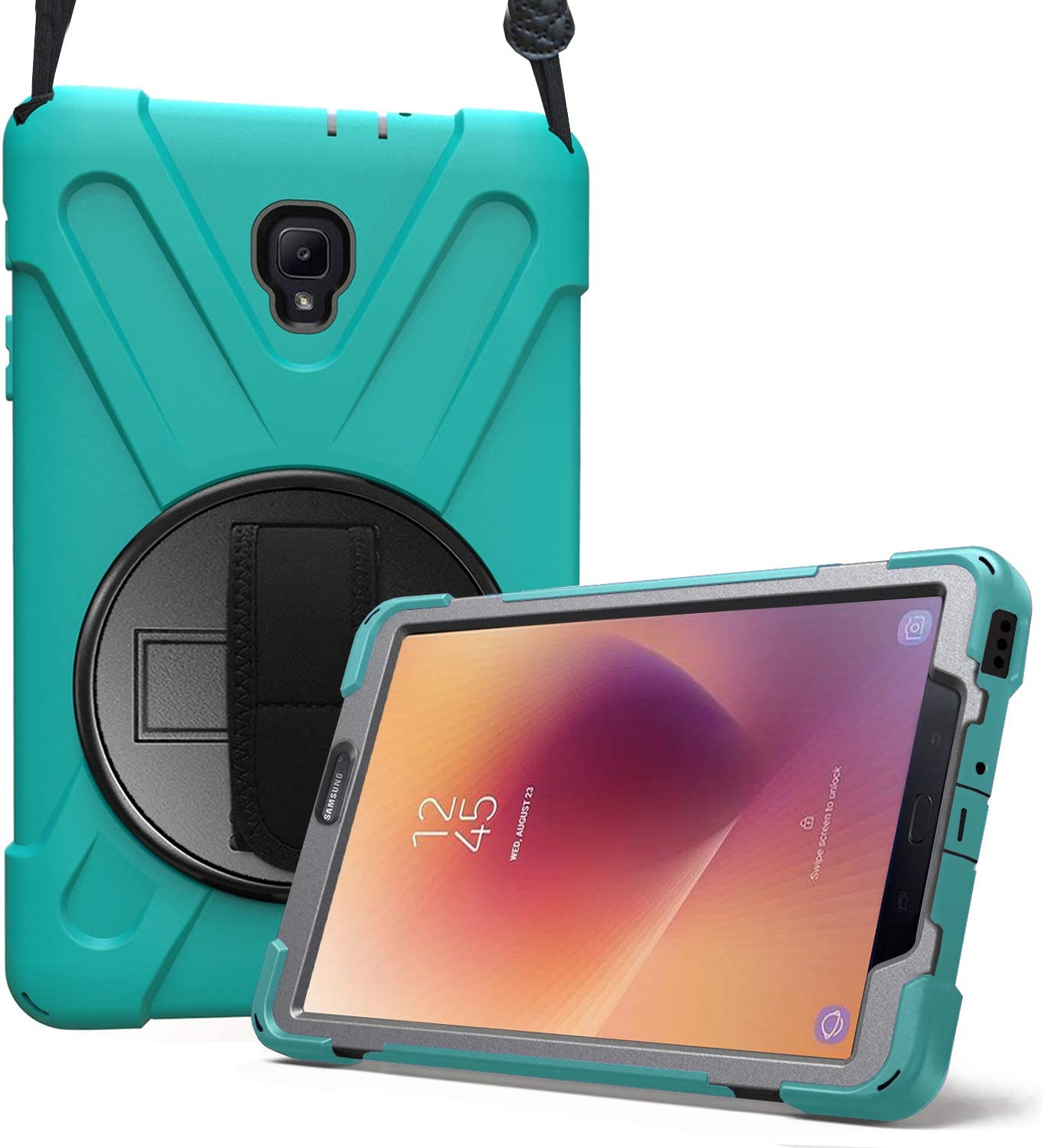ProCase Galaxy Tab A 8.0 2017 T380 T385 Case, Rugged Heavy Duty Shockproof Rotating Kickstand Protective Cover Case for Galaxy Tab A Tablet 2017 T380 T385 –Teal