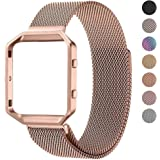 Fitbit Blaze Bands with Frame Small Large for Women Men, PUGO TOP Stainless Steel Metal Magnetic Milanese Replacement Band Accessories for Fitbit Blaze Smart Watch Black Gold Rose Pink Silver Colorful