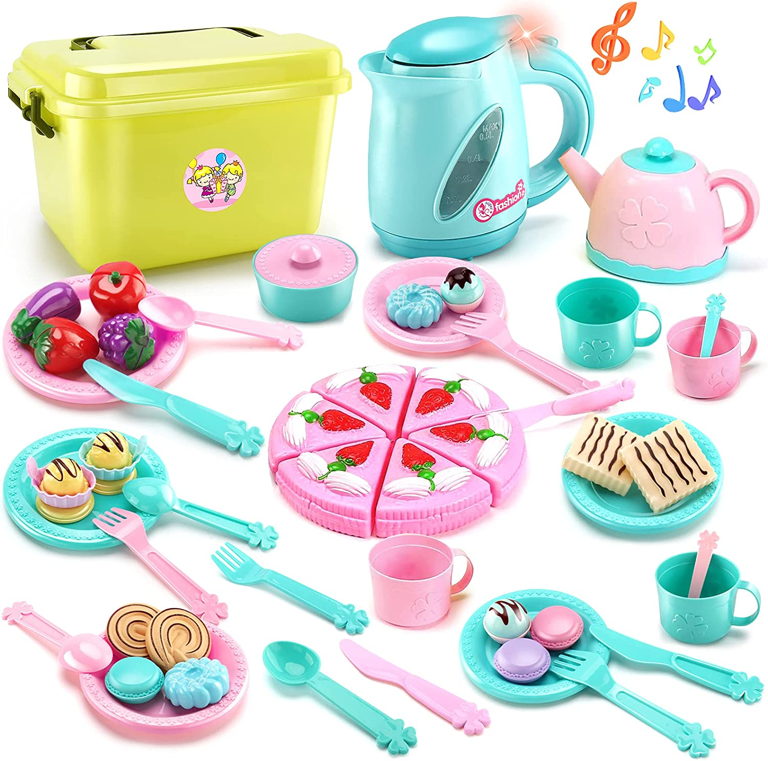 LOVE LIFE 51 Pieces Kid Tea Party Set Play Food Kitchen Cooking Toys for Toddlers Girls Boys 3 4 5 6 7 Years Old Early Development and Educational Pretend Play Food Set