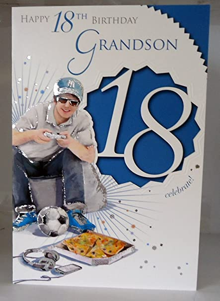 Happy 18th Birthday Grandson Celebrate 18 Lovely Bright Modern Card With A Verse