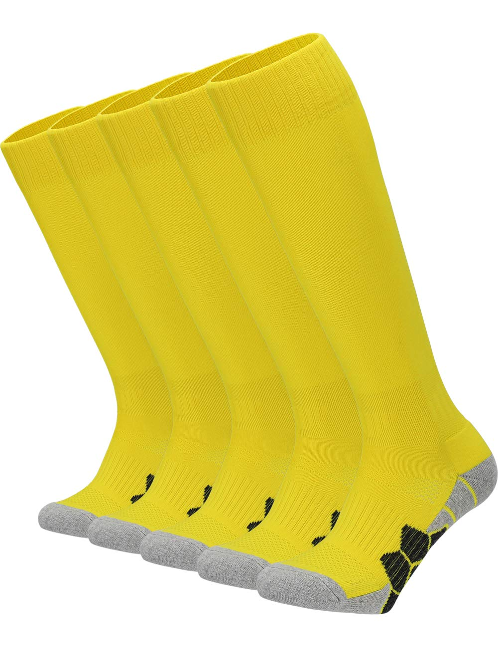 Youth Kids Adult Knee High Cotton Golf Socks Boys Girls Parent-Child Outdoor Active Long Towel Bottom Socks, 5-Pair Yellow, Size L (Kids 9C-13C / W 10-13 / M 8-12) by APTESOL