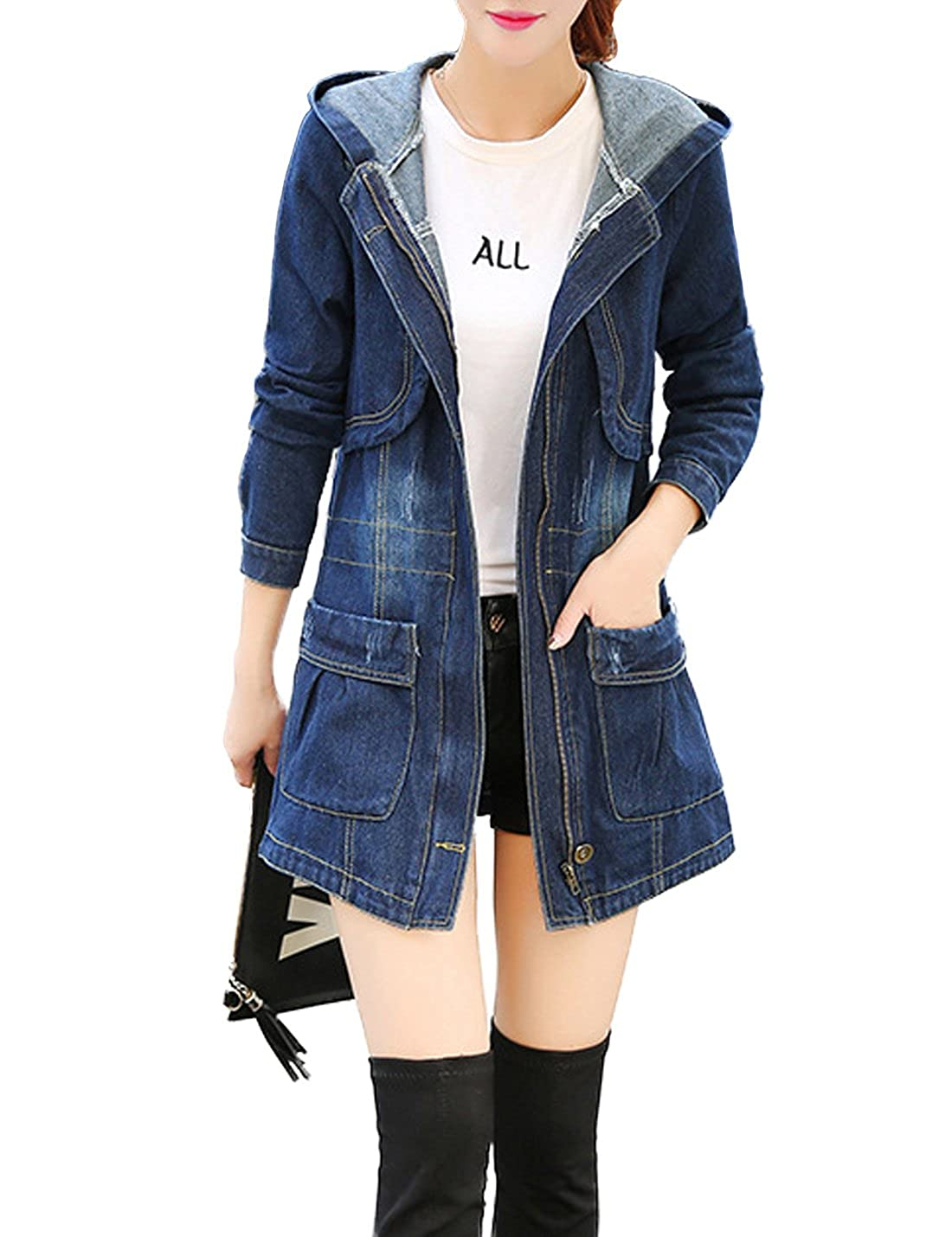 Tanming Women's Casual Mid-Long Hooded Denim Jacket Coat Tanming-100240