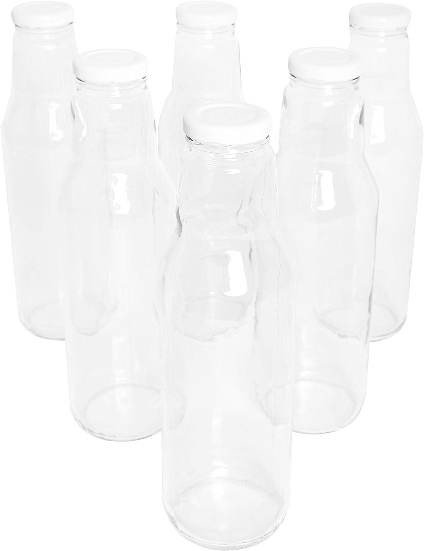 Juego de 6 botellas de cristal de 750 ml (0,75 L) con cierre de rosca blanco / tapa de rosca de alta calidad / zumo, leche, vinagre, aceite, chupitos o licores.