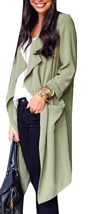YLnini Women Casual Lapel Open Front Long Sleeve Trench Coat Green M