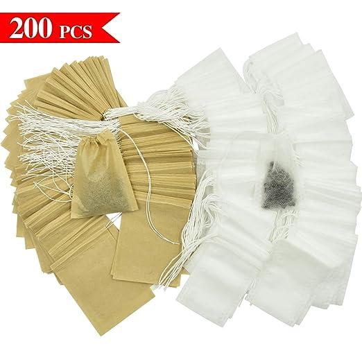 Wandefol Bolsas de té de papel con cordón, bolsa de té ...