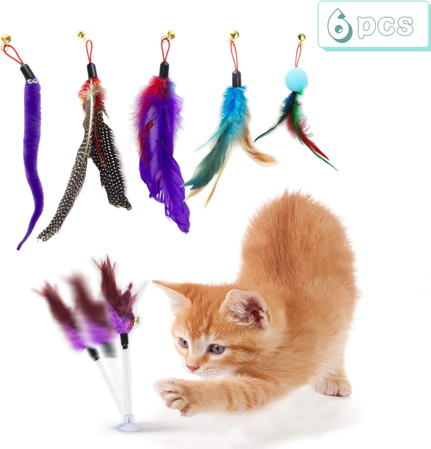 Colorful Springs Crinkle Balls Cat Toy YUN HOME 14Pcs Interactive Kitten Toys Assortments for Indoor Pets 2 Way Tunnel Fluffy Mice for Cat Puppy Kitty Replacement Feather Teaser with Bell Kitten Wand