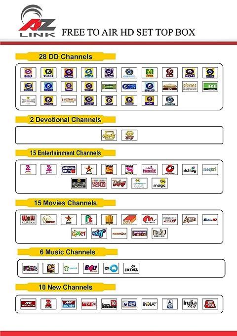 AZ Link Free To Air DD Direct DTH Set Top Box (DVB-S2, Mpeg-4, Full Hd With  2 USB Ports & Wi-Fi Via USB Wi-Fi Dongle)- Black