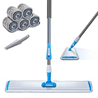 """Large Area Mop 24"""" Microfiber Flat Mop with 3 Mop Pads Heavy Duty Floor Mop with Stainless Steel Handle Masthome"""