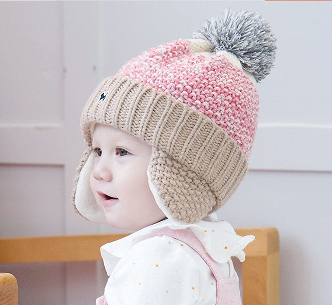 Naovio Baby Kids Fleece Lined Winter Hat Knitted Cap Thick Warm Hat with Earflap for Boys Girls
