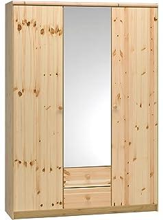 Armadio 3 ante in legno pino-Grezzo (Non verniciato): Amazon.it ...