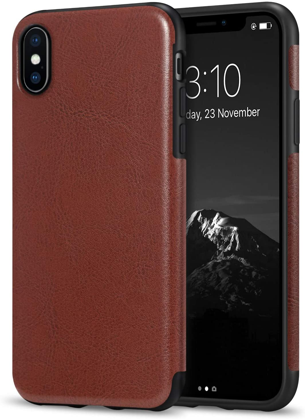 TENDLIN Compatible with iPhone Xs Max Case Premium Leather Outside and Flexible TPU Silicone Hybrid Slim Case Compatible with iPhone Xs Max - 2018 (Brown)