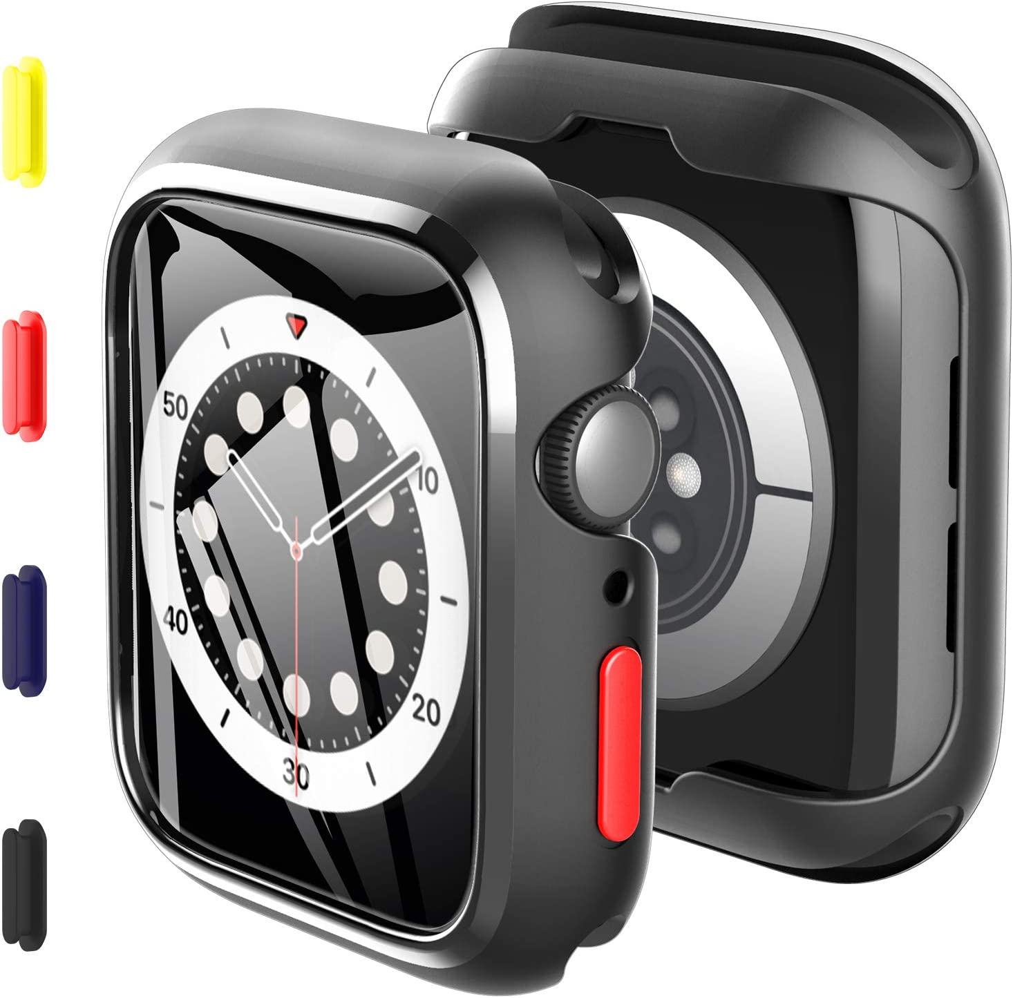 KKM2PackCasebulitinTemperedGlassCompatiblewithApplewatchSeries6Series5Series444mm,ReplaceableFour-ColoredButtons,Ultra-thinSiliconeShell,All-roundProtectiveCover-Black
