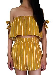 0eb1b727b Women's Bohemian Striped Printed Crop Top with High Waist Shorts Two Piece  Outfit Suit Set