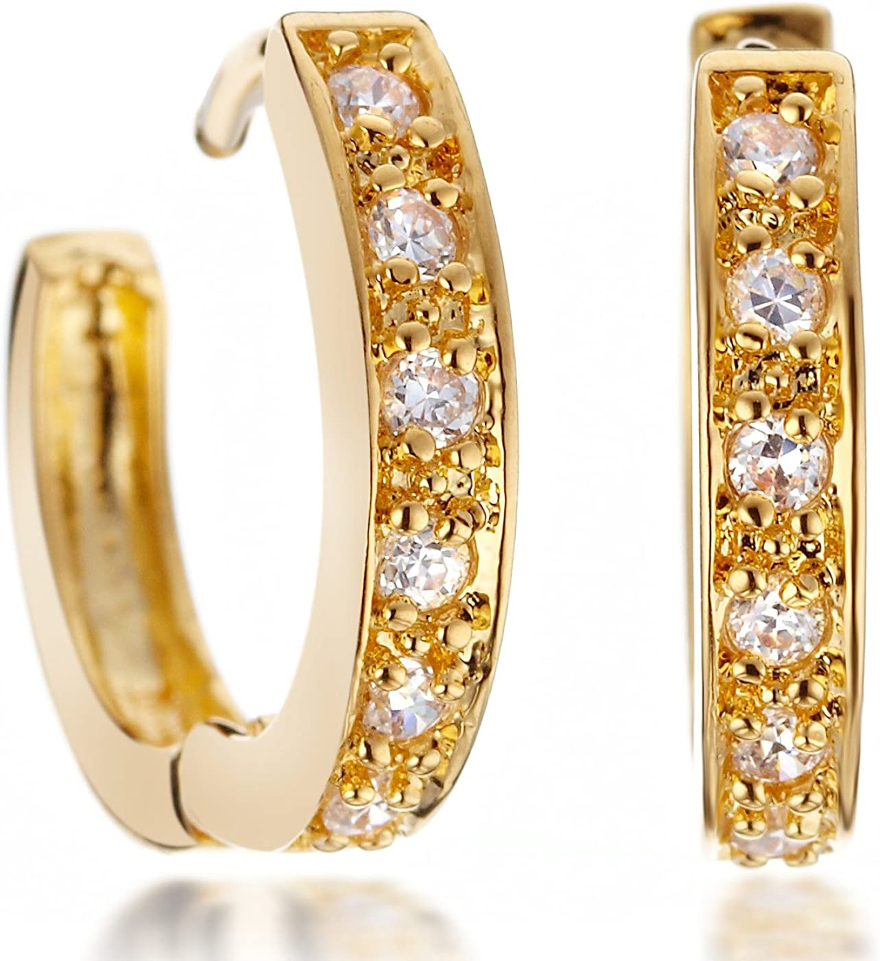 GEMINI JEWELRY - Pendientes de aro de oro amarillo de 18 quilates con circonitas cúbicas para mujer Gm068, color oro amarillo, regalo para el día de San Valentín, regalo de Navidad, regalo para mujer