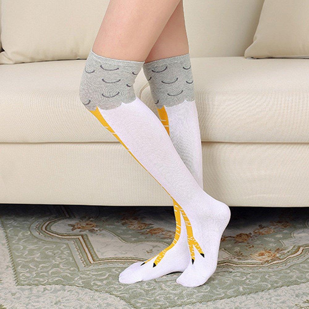 FBGood 3 Paar Crazy Lustig 3D H/ühnerbeine Cosplay Hohe Socken Kniehoch Mittlere Wade Neuheit-Str/ümpfe Lustig Gabe Ofenrohr Socken